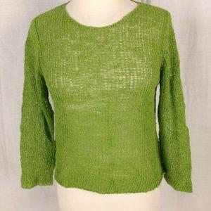New Eileen Fisher Boucle Mesh Sweater Linen Nylon